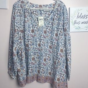 NWT Lucky Brand 🍀 Floral Bohemian Top - 3XL